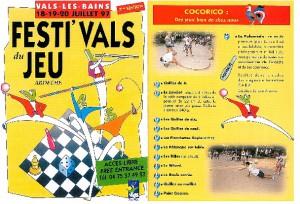 Affiche du festival du jeu de Vals les Bains