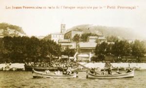 Les Joutes à l'Estaque au début du XXe siècle, carte postale ancienne fournie par Marie-Véronique Amella.