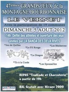 Programme du 5 août 2012, affiche du site www.cusset-tourisme.fr