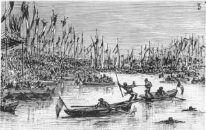La joute sur l'eau à Bercy, 14 juillet 1882, photographie du site de la fédération française de joute et sauvetage nautique